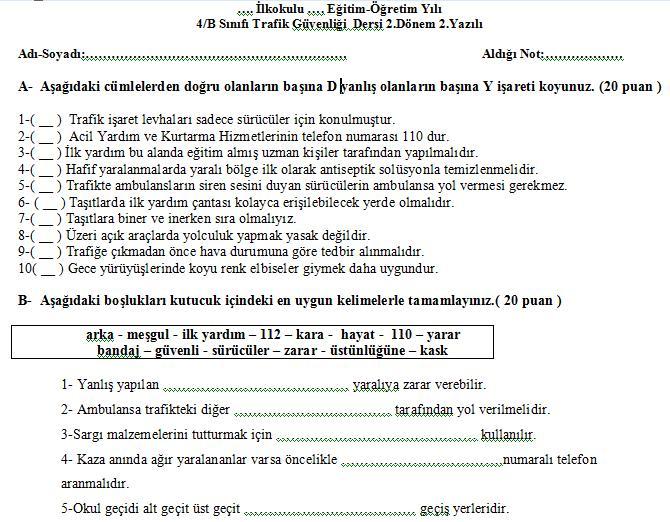 4sınıf Trafik Güvenliği Dersi 2dönem 2yazılı