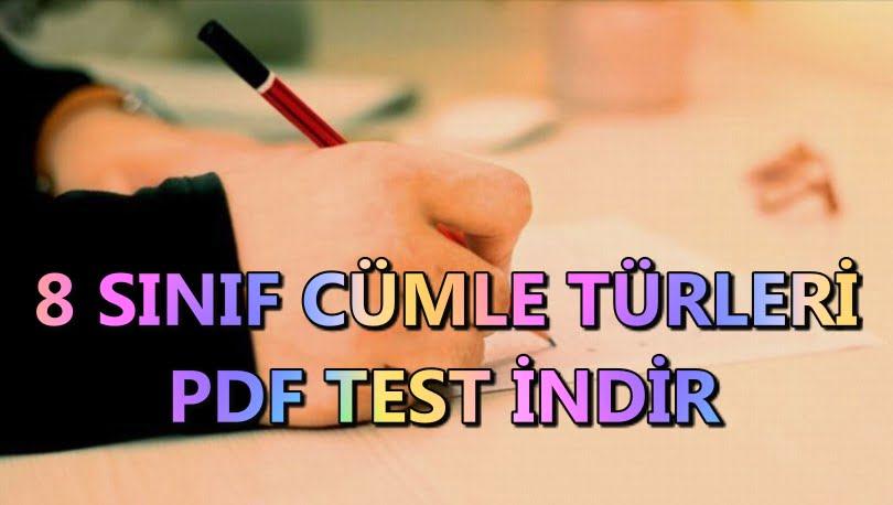 8. sınıf cümle türleri testi PDF indir