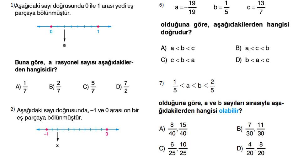 7. sınıf matematik rasyonel sayılar PDF indir